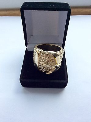 Large Ring-Solid 9Ct Gold- Buckle Ring -Size Z Heavy 45 Gms-Hallmarked