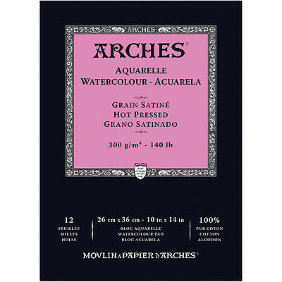 """Arches Watercolor Hot Pressed Paper Pad 10""""X14"""" 140# 12 Shee 12 Sheets 1795103"""