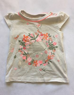 Baby Girls 9-12 Months TU Short Sleeve Cream T-shirt Top With Cat Floral Design