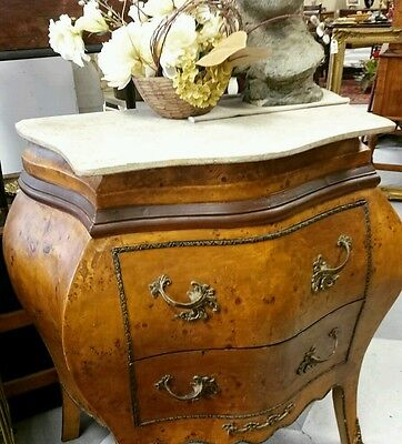 French Louis XV Style Bombay Commode BOMBE Chest Stand Table Marble Top