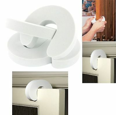 New Pack Of 4 Child Baby White Foam Door Jammer Guards Trapped Finger Protector