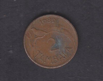 1989 Malawian 2 Tambala Animals (Fauna) Copper Plated Steel Circulated Coin