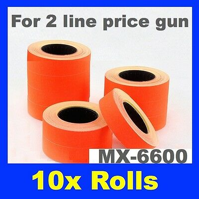 10 Fluro Red Double 2 Line Pricing Price Tag Tagging Gun Label Rolls Mx-6600