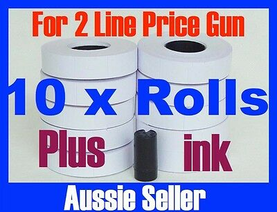 NEW WHITE PRICE GUN TAGS LABELS  x 10 ROLLS FOR 2 LINE PRICE GUN + INK