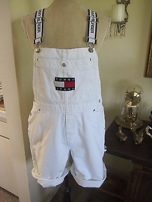 Vintage Tommy Hilfiger overall shorts Flag spellout white denim women's Medium