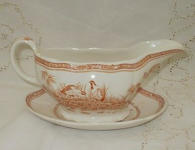 FURNIVALS Brown Quail GRAVY BOAT & SAUCER  c1913