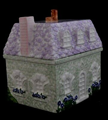 SPRING  COTTAGE HOUSE~Pier 1 Imports Ceramic Cookie Jar With Lavender Roof MINT