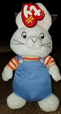 """TY Beanie Baby, Max the Rabbit, 7"""" from Max & Ruby show"""