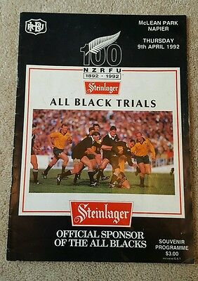 New Zealand All Blacks Trials 1992 rugby union programme