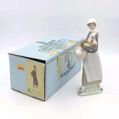 "Lladro #4591 Girl With Cockerel Basket Rooster 9"" Figurine Spain W/ Box Retired!"