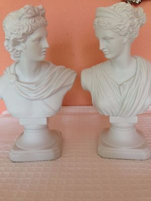 Elegant Vintage Classical Porcelain Busts Apollo And Diana. 9 6/8'' Estate Find