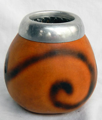 Vintage Hand Made African Gourd Pot / Spill Vase with Metal Rim - pre 1940s