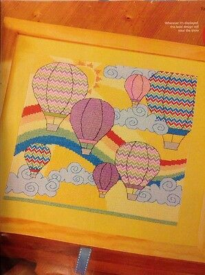 (G) Up And Away Hot Air Balloons Cross Stitch Chart