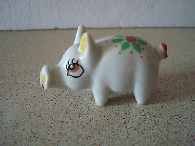 Vintage Shamrock Pottery Miniature Pig Ornament Made In Ireland