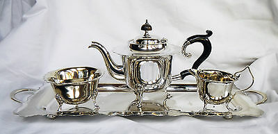 Antique Art Deco Silver Plate / Plated Tea Service and Tray c 1920s