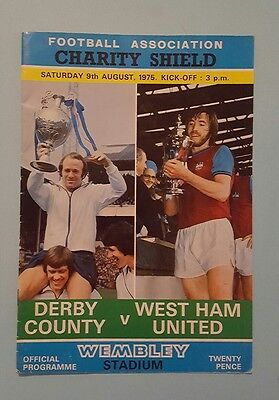 Derby County v West Ham United 1975 charity shield football programme