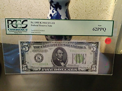 1934 5 federal reserve note-Light green seal