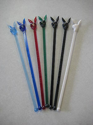 7 Plastic The Playboy Club Bunny Swizzle Sticks Red Black Green Light Blue White