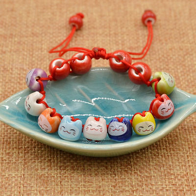 Ceramic Cat Beads Charm Lucky Bracelets For Fortune Money Health Adjustable Red