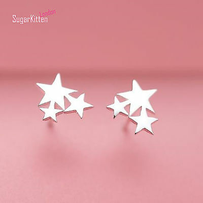 Solid 925 Sterling Silver Climber Crawler 3 Stars New Design Stud Earrings