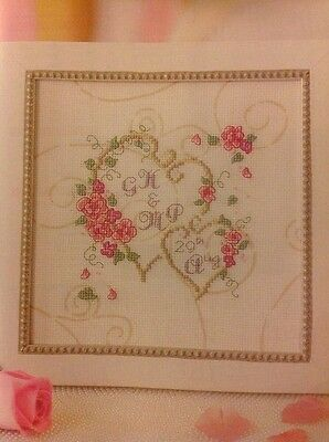 (E) Perfect Match Hearts And Flowers Wedding Sampler And Card Cross Stitch Chart