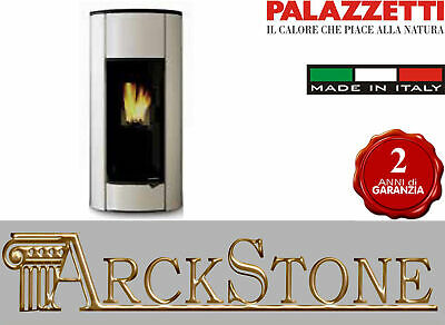 Pellet Stove Hermetic Airy Home Palazzetti Inés 9 Power 9 Kw White Glass