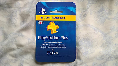 Playstation Plus 365 Days UK Card - PSN 12 Month Code PS Store - SONY 1 Year Key