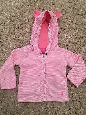 Joules Girls Pink Striped Jersey Jacket - 9-12 Months