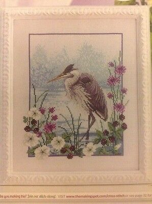 (F) River Rambler Heron Bird And Flowers Cross Stitch Chart