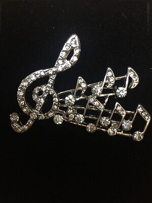 Jodie Rose Polished Silver Colour Metal Music Note Brooch With Clear Crystals