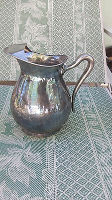 """Vintage Poole Silver Plate 8 1/2"""" TALL Water Pitcher # 1280 TUNTON MASS ICEGUARD"""