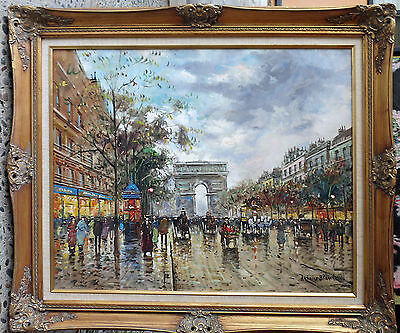 Authentic Impressionist oil painting, Antoine Blanchard, Paris Street