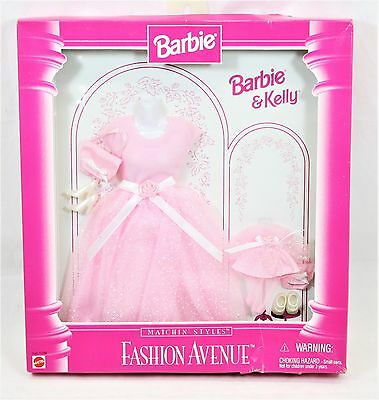 Barbie & Kelly Fashion Avenue Collection Matchin Styles Pink Party Dress NIB