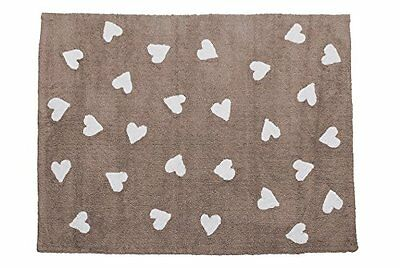Lorena Canals C-L-LHW Linen Hearts White Washable Rug, Beige (s4V)