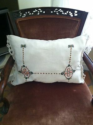 Antique Arts & Crafts Embroidered Linen Pillow
