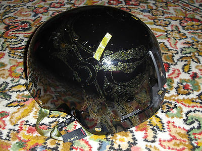 GIRO black ski snowboard helmet gold tattoo pattern small 52 53 54 55.5 cm