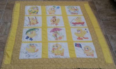 Handmade Quilted, Cross Stitched & Embroidered Yellow Duck(s) Baby Quilt