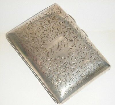 Antique Edwardian Sterling Silver Decorative Rectanglar Cigarette Case - B1911