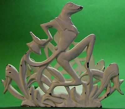 Vintage Deco Figural Cast Iron Frogs / Toads Aquarium / Fish Bowl Stand Holder