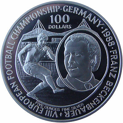 Niue 1988. 100 Dollars 5 Oz Silver Plata Proof - Campeonato Europeo