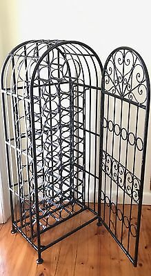 Wine Rack Solid Black Wrought Iron 39 Bottles