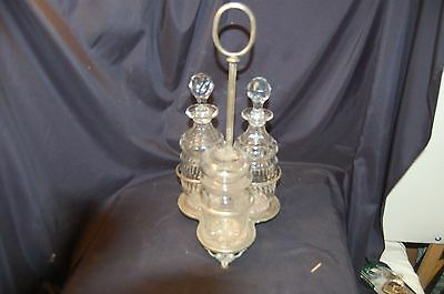 Antique glass and silverplate condiment set Hallmarked no reserve must see!!