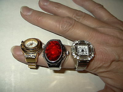 3 Vintage DIGITS & BOZHI Gold & Silver Tone With Crystals Quartz Ring Watches