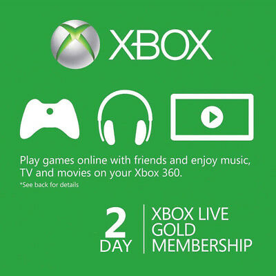 Xbox Live 2 Day 48hr Gold Trial Code Read Item Description