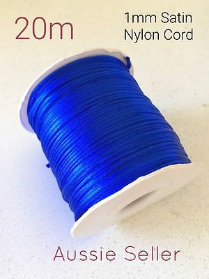 20m ROYAL BLUE satin nylon cord 1mm for DIY silicone keyring rattail jewellery