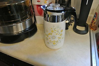 Vintage Early Corning Ware Floral Bouguet Electric Coffee Pot 10 cup With Cord