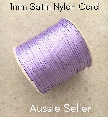 20m SOFT LILAC satin nylon cord 1mm for DIY silicone keyring rattail jewellery