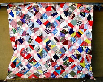 Vintage 30's 40's crazy pink snowball quilt top with feed-sack fabrics