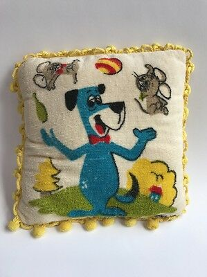 Vintage 60's Hanna Barbera Huckleberry Hound Pixie Dixie fringe pillow Blue Dog