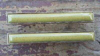Vtg Bicentennial Cabinet Drawer Pull Handles MCM Green Speck Brass Trim Lot of 2